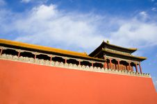 Free Ancient Pavilion And Red Wall Of Gate Wumen In For Royalty Free Stock Image - 21027416
