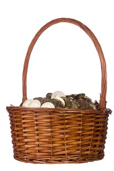 Coins In A Basket Royalty Free Stock Image