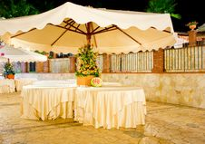 Table Set In The Garden Royalty Free Stock Photo