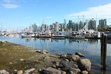 Marina & Vancouver BC Skyline. Stock Images