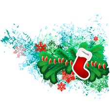Free Hanging Santa Sock With Christmas Decorations Stock Images - 21029414