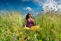 Free Pregnant Woman On Green Grass Field Under Blue Sky Royalty Free Stock Photos - 21034078