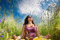 Free Pregnant Woman On Green Grass Field Under Blue Sky Stock Photography - 21034132