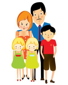 Free Happy Suburban Family, Cartoon Stock Photo - 21030250