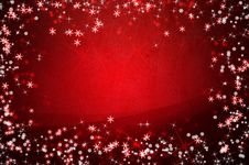 Winter Red Christmas Background With Snowflakes Stock Photos