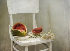 Free Water-melon On A White Chair Stock Photos - 21032493