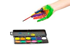 Free Hand In Paint With Brushes Royalty Free Stock Photography - 21032607