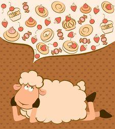 Free Background With Sweet Cakes And Sheep Royalty Free Stock Photos - 21033278