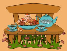 Free Tea Set And Sweet Cakes On Bench Royalty Free Stock Photo - 21033285