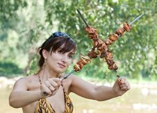 Young Woman With Grilled Meat Stock Photos