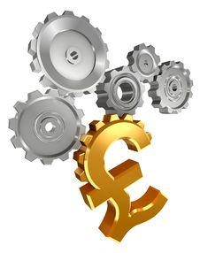 Free Pound Golden Symbol And Metal Cogs Royalty Free Stock Image - 21033686