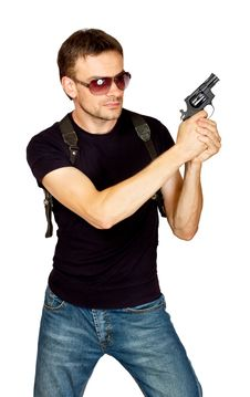 Free Man With A Gun In The Holster Stock Photography - 21033932