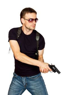 Free Man With A Gun In The Holster Royalty Free Stock Photo - 21033935