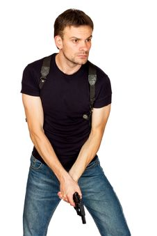 Free Man With A Gun In The Holster Stock Photo - 21033940
