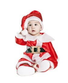 Free Asian Baby Boy In A Red Christmas Cap Stock Photography - 21034192