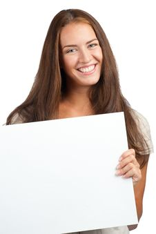 Free Woman With Blank Billboard Stock Photo - 21034530