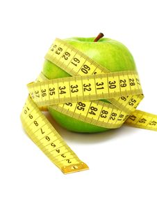 Free Apple And Measuring Tape (isolated) Royalty Free Stock Photo - 21034575
