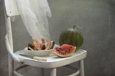 Free Water-melon On A White Chair Royalty Free Stock Images - 21035009