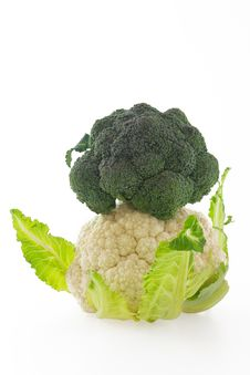 Cauliflower And Broccoli On White Background Royalty Free Stock Photography