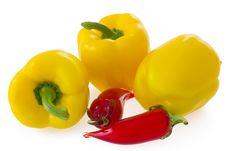 Free Yellow Bell Pepper And Glass Chilli On White Stock Photography - 21037632