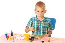 Boy Paint Airplane Model Stock Photo