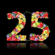 Number Twenty Five Made From Fruits. Stock Photography
