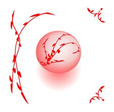 Free Shining Pink Holidays Balls Among Red Flowers Stock Photo - 21039680