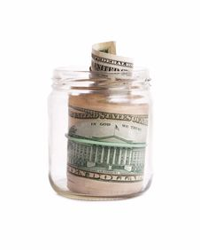 Free Glass Pot With Dollars Royalty Free Stock Photos - 21039868