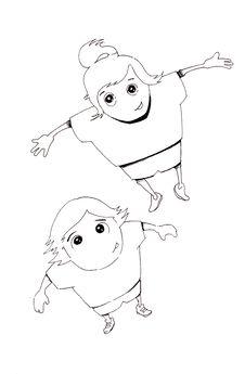 Free Hand Drawn Joyful Boy And Girl Jumping Stock Image - 21040371