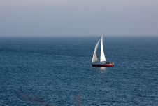 Free Boat In The Atlantic Ocean At The Evening Royalty Free Stock Images - 21040829