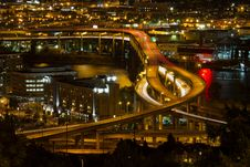 Free City Of Portland Light Trails On Marquam Freeway Royalty Free Stock Images - 21040949