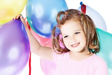 Free Girl With Balloons Stock Images - 21041684