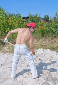 Free Back Of A Man With Shovel Stock Photos - 21042433