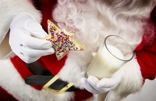 Free Santa With Cookie And Milk Royalty Free Stock Photography - 21042817