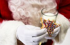 Free Santa With Cookie And Milk Stock Image - 21042821