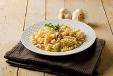 Pasta With Salmon And Cream Stock Photography