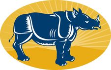 Free Rhinoceros Side View Woodcut Stock Image - 21044571