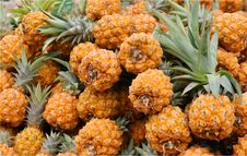 Pineapples On Market Stand Royalty Free Stock Photos