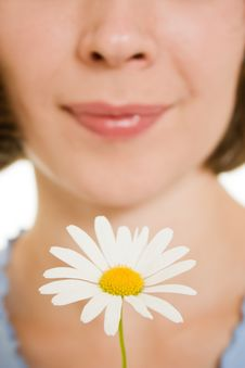 Free Girl Smelling A Flower. Stock Photos - 21044793