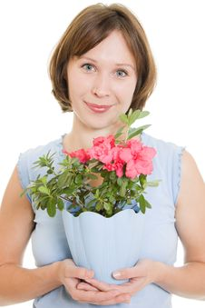 Free Smelling Girl With Flower. Stock Image - 21045021
