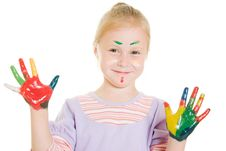Free Cute Girl Playing With Colors Royalty Free Stock Photo - 21045055
