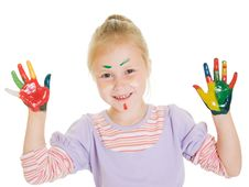 Free Cute Girl Playing With Colors Stock Photo - 21045060