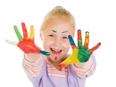 Free Cute Girl Playing With Colors Royalty Free Stock Images - 21045069