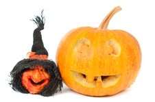 Free Pumpkin And Witch On Halloween Royalty Free Stock Photo - 21045645