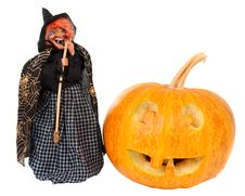 Free Pumpkin And Witch On Halloween Royalty Free Stock Photo - 21045655