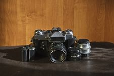 Free Vintage Camera And Lenses Royalty Free Stock Photo - 21045925