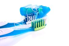 Free .Two Toothbrushes And Dental Floss Isolated Stock Image - 21046351
