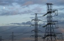 Free High Voltage Power Pylons. Royalty Free Stock Photo - 21047265