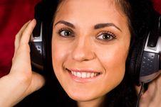 Cute Girl With Headphones Stock Image