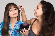 Free Two Girls Making Up Stock Photography - 21047652